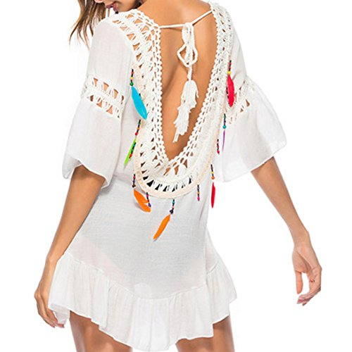 Crochet Beach Cover Up (Rosennie Damen Strandkleid Bikini Tunika V-Ausschnitt Lose Vertuschen Reine Hand Chiffon Crochet Knit Hollow-Out Rückenfrei Beach Dress Fransen Bikini Cover Up Urlaub Strand Kleider(Weiß,Free))