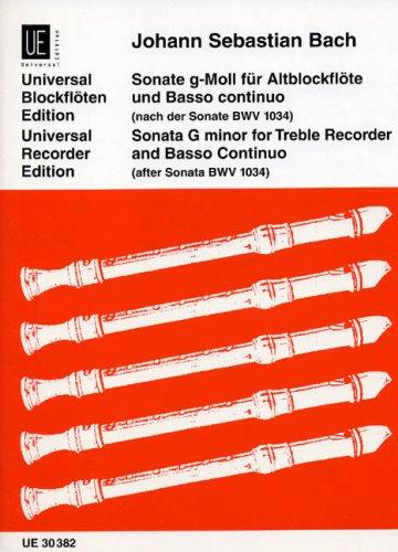 Sonate: Nach der Sonate BWV 1034. BWV 1034. für Altblockflöte und Basso continuo.