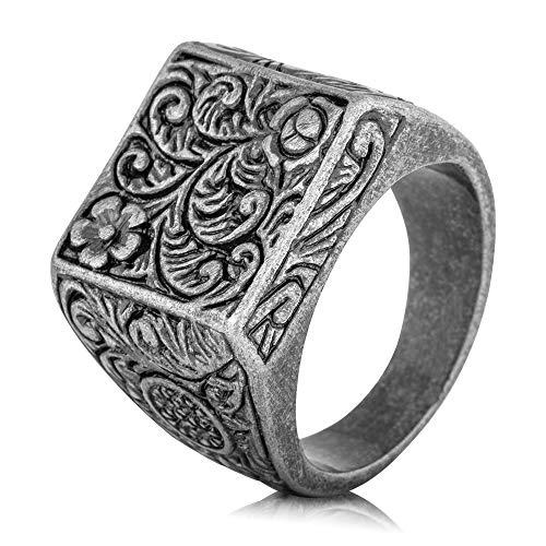 Akitsune Floris Ring | Design-Ring Frauen Herren Edelstahl Groß Floral Blumen Ornament Siegel - Antik Silber - US 11