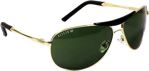 AISLIN® Non-Breakable Aviator Sunglasses For Men (G-15 Green Lens)(AS-3455DH-2-GLD)