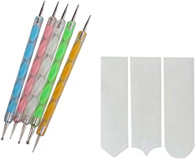 FOK Plastic Nail Art Dotting Pen Marbelizing Tool and French Manicure Sticker (Multicolour)