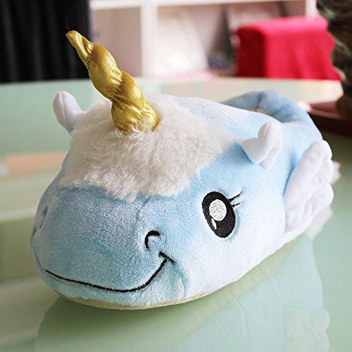 Unicorn Einhorn Plüsch Hausschuhe Pantoffeln Schuhe für Kinder / Erwachsene Blue Color