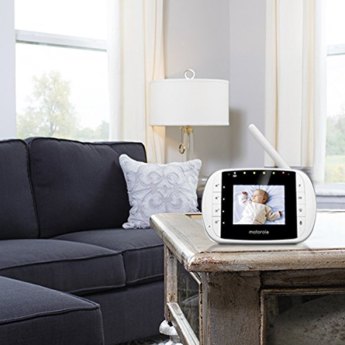 Motorola MBP 33S – Video Babyphone mit 2.8 Zoll Farbdisplay und bis zu 300 Meter Reichweite, weiß