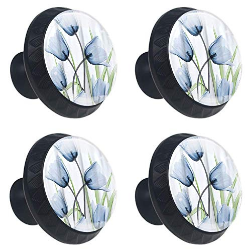 4 Pieces Set Cabinets Hardware Round Furniture Knobs Purple Tulip Floral Print,Drawer Dresser Cupboard Wardrobe Pulls Handles for Home Kitchen -