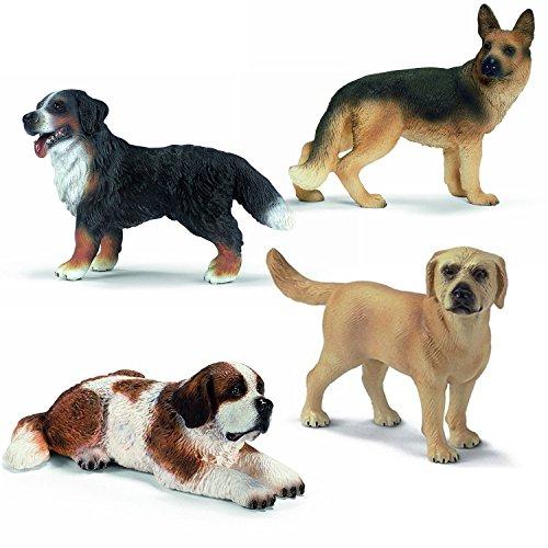 Preisvergleich Produktbild Schleich Raritäten Set - Hofhunde Hunderassen - Bernhardiner Hündin 16380 Schäferhündin 16375 Labrador 16329 Berner Sennenhund 16339