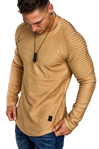 Amaci&Sons Oversize Vintage Herren Pullover Biker-Style Hoodie Sweatshirt Crew-Neck 6069 Beige XL