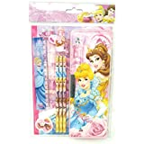 HM Disney Licensed Disney Princess Stationery Set With Magentic Pencil Box, NoteBook - 8 Pieces
