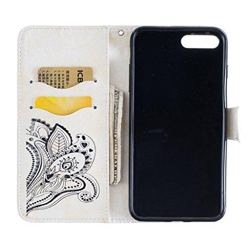 iPhone 7Plus custodia, con protezione per lo schermo in vetro temperato] antigraffio, fatcatparadise (TM) Custodia posteriore in silicone morbido, elegante vintage Pressed pavone fiore Bloom Motivo m White