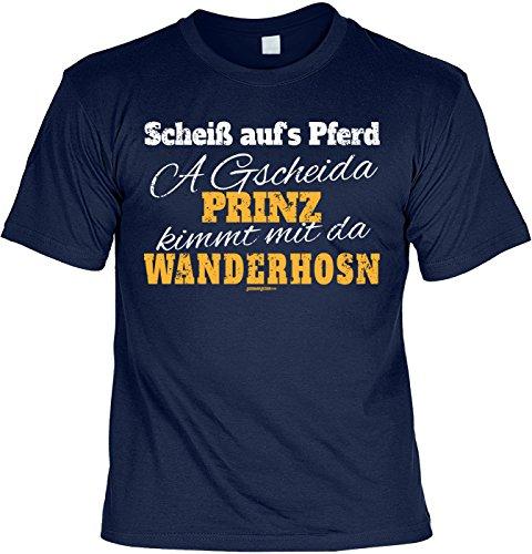Wander T-Shirt A gscheida Prinz kimmt mit da Wanderhosn Kletter Bergsteiger Shirt 4 Heroes Geburtstag Geschenk geil bedruckt Navyblau