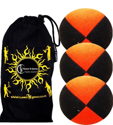 Jonglierbälle 3er Set: Profi Beanbag Bälle aus Velours +Tasche. Set Für Anfänger Wie Auch Für Profis. (Schwarz/Orange)