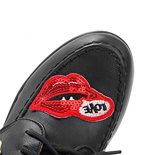 AgooLar Damen Rund Zehe Hoher Absatz Weiches Material Gemischte Farbe Schnüren Pumps Schuhe Schwarz