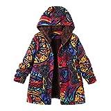 YWLINK Damen Warm Street Vintage Oversize Coats MäDchen Mit Kapuze Schickes Langarm Baumwolle Leinen PlüSch Futter ReißVerschluss ÜBergangs Mantel Outwear