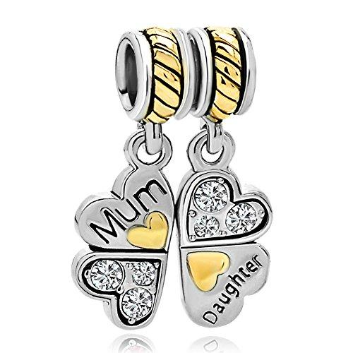 """Korliya - ciondolo per braccialetto, con 4 cuori che formano un quadrifoglio e le scritte """"mum"""" e """"daughter"""" e rame, colore: white, cod. emw_dpc_fa430_x04"""