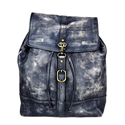 Vintage leather backpack genuine washed leather travel bag weekender sports bag gym bag leather shoulder ladies mens blue backpack - handmade-bags