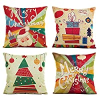 "‏‪Pack of 4 Merry Christmas Cotton Linen Burlap Throw Pillow Cover Cushion Pillow Case Square 18×18"" for Christmas Holiday Decoration Gift Home Room Sofa Car (Lollipop Xmas)‬‏"