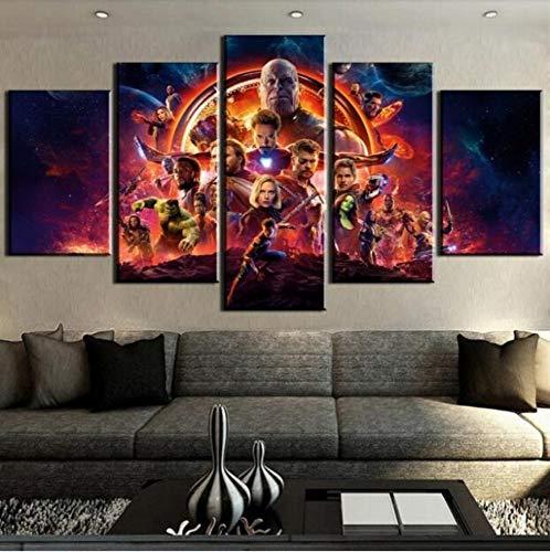 LCCWLH Leinwanddrucke 5 Stücke Hd-Druck Great Avengers Infinity War Filmposter Gemälde Auf Leinwand Wand Mit Frames - Wand-poster-frames