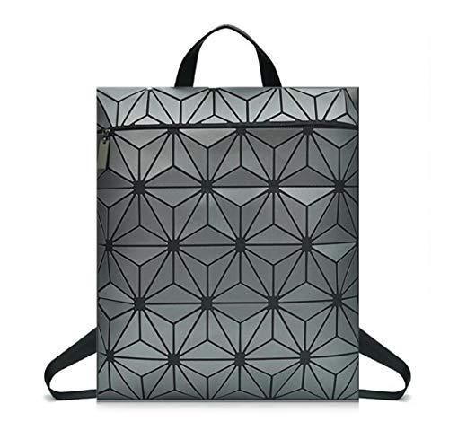 Frauen Leuchtender Rucksack Geomtry Faltende UmhäNgetasche GroßE Schultasche des Kursteilnehmers Matte Color Gray1