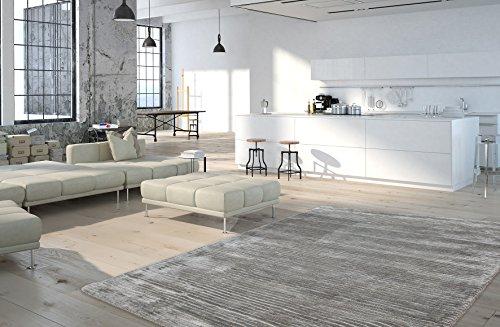 Moderner Teppich Vintage my Beluga 520 von obsession, einfarbiger flacher Vintageteppich in modernen Wohnfarben, und leichter Strucktur, rot, silbner, grau, anthrazit, dunkelgrau, lime grün, taupe, mauve, lila, violett (80 x 150 cm, BEL 520 silber grau) (Beluga Kurz)