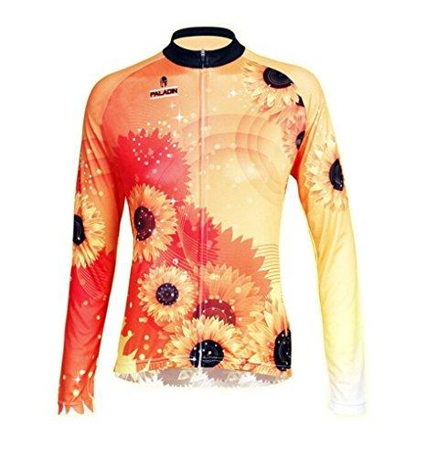QinYing Fahrradtrikot, Fahrradshirt, Blumendruck, Lange Ärmel, Fahrrad-Top für Damen - Gelb - Klein - Wisconsin Gelben T-shirt