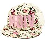 Belsen Mädchen ROCK Blume Baseball Kappen Mesh Cap Truckers Hat (Briefe beige)