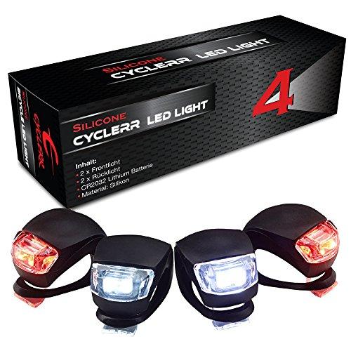 4er Silikonleuchte LED Set - (2x LED vorne weiß & 2x LED rot), Sicherheitsbeleuchtung Kinder-Fahrrad, Silikonleuchten-Set mit Batterie, Licht Kinderwagen, Sicherheitslicht Laufrad