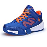 Jungen Basketballschuhe Geschlossene Mesh High-Top Sportschuhe Schnürung Hohl Strapazierfähig Stundenten Leichtgewicht Rutschfest Sneaker Orange-Blau 35