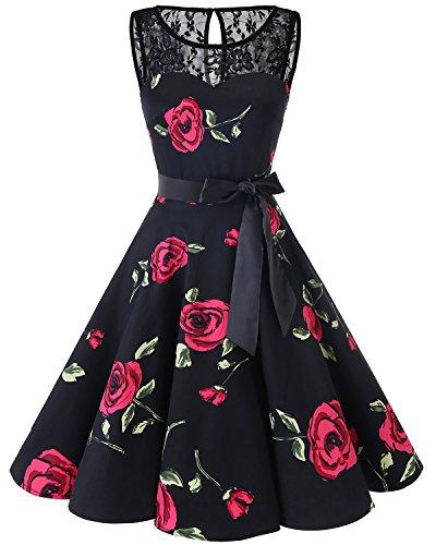 bbonlinedress 1950er Ärmellos Vintage Retro Spitzenkleid Rundhals Abendkleid Black Red Brose 3XL