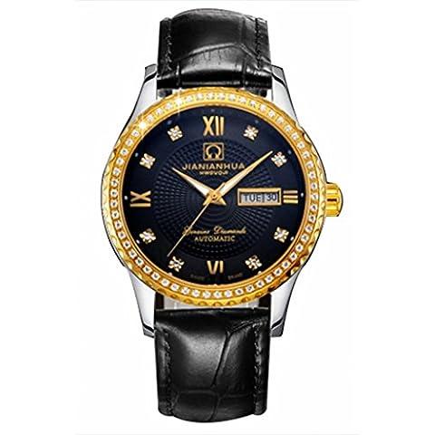 downj impermeabile luminoso automatico diamante oro e acciaio quadrante nero orologio da uomo - Womens Diamante Orologio Automatico