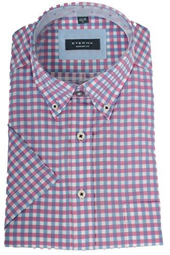 eterna -  Camicia classiche  - con bottoni - A quadri - Uomo pink blau