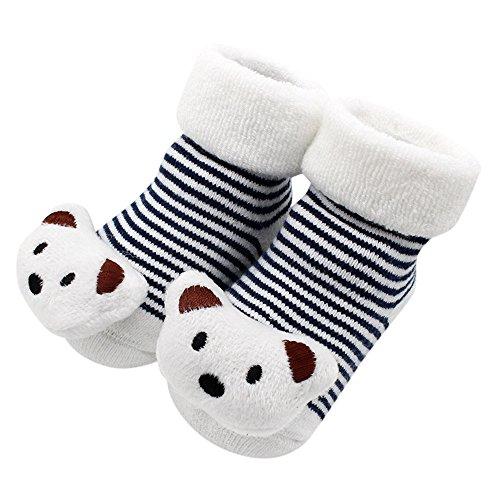 Sunenjoy Chaussures de bébé -Girl Garçon 3D Dessin Animal Chaussettes , Chaussettes hochet, Chaussons de bébé, Chaussettes pantoufles -0-12 mois