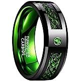 NUNCAD Herren Damen Unisex Ring aus Wolfram mit Zirkonia und Kohlefasern 8mm Schwarz + Grün für Hochzeit Verlobung Alltag Fashion Größe 54 (14)
