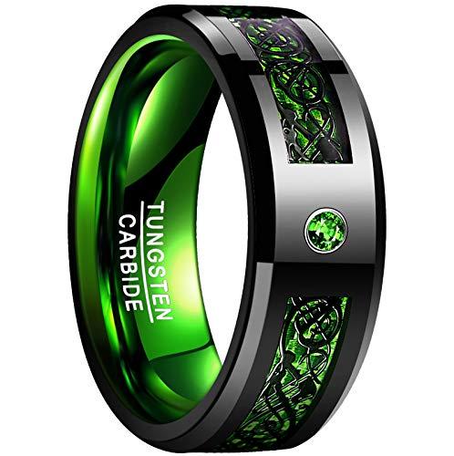 NUNCAD Unisex Herren Damen Ring aus Wolfram mit Zirkonia und Kohlefasern 8mm Schwarz + Grün für Valentinstag Geburtstag Hochzeit Größe 59 (19)