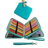 GXL - Mallette à crayons de couleur - Pour 120 crayons - Etui en cuir synthétique - Grande capacité: 3 compartiments (Crayons non inclus)