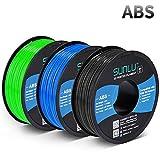 SUNLU ABS Filament 1.75mm for FDM 3D Printer, 3KG(6.6LBS) ABS 3D Filament Accuracy +/- 0.02 mm, Black+Blue+Green