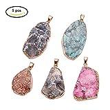 Panda Hall Elite 5unidades Ágata piedras preciosas colgante Chakra perlas color surtidos DIY cristal colgante, Colore Misto#4, 25~60x6~35x7~20mm