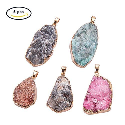 Panda Hall Elite 5unidades Ágata piedras preciosas colgante Chakra perlas color surtidos DIY cristal colgante, Colore Misto#4, 25~60x6~35x7~20