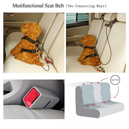 Mogoko Chew Proof Dog Car Seatbelt Safety Restraint Pet No-Chew Tether Cable Stainless Steel Dog Leashes Rope Puppy Vehicle Seat Belt with Double Clip and Latch Attachment (16 inch)