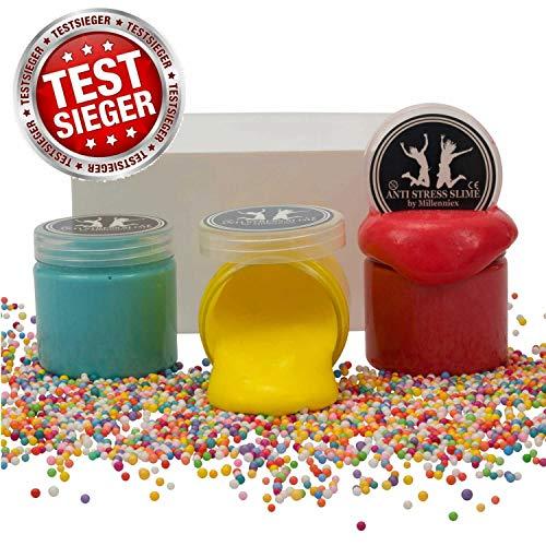 TESTSIEGER: Sehr Gut - Anti Stress Slime Geprüftes Schleim Set - 3 Stück Mit Zubehör - DIY Fluffy Slime Kit für Kinder - Angenehmer Geruch - Millenniex -