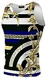 Pizoff Herren Sport Tank Top - Fitness Trainingsshirt Muskelshirt mit Barock Palace Golden Karikatur Druckmuster AL083-17-S