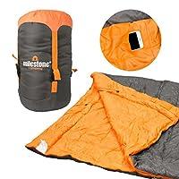 Milestone Camping, Grey, 26750 Envelope Sleeping Bag | 3 Season | Double Insulation | Full Length Dual Zip | Grey & Orange | Packs Down Tight | 210cm x 170cm 20