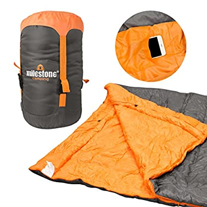 Milestone Camping Unisex's 26750 Envelope Sleeping Bag 3 Season Double Insulation Grey & Orange, Grey 1