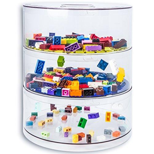 BLOKPOD Organizer per Giochi & Lego • Contenitore Multifunzione Impilabile • Alta Capienza: 16 Litri • Scatola Trasparente • 15 ANNI DI GARANZIA • 3 Piani