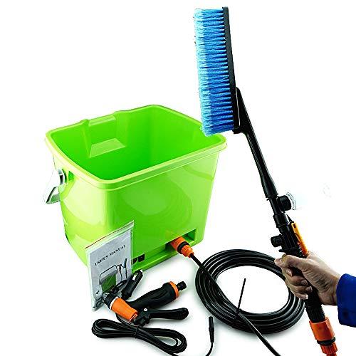 XMAGG® Hochdruckreiniger, Tragbare Autowaschanlage Set Auto Sprayer 70 Watt Hochdruck selbstansaugende Elektrische Wasch Washer Kit Wasserpumpe 12 V mit Eimer und Duschbürste