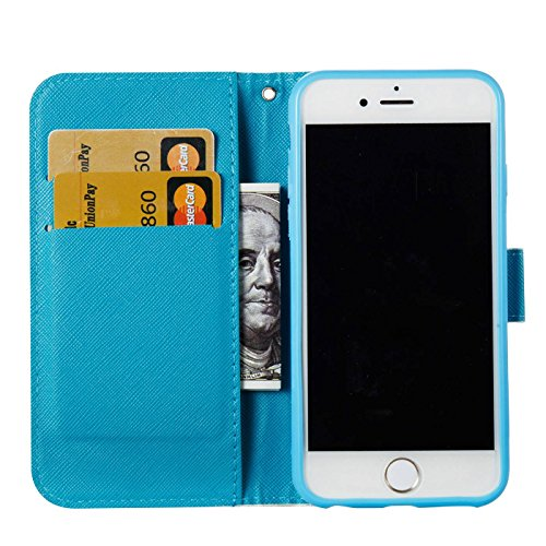iPhone 6S 4,7Zoll Hülle,iPhone 6 Tasche,TOYYM Ultra Dünn PU Leder Flip Cover Brieftasche Wallet Case Klapptasche Etui,3D Muster Design Folio Bookstyle Lederhülle Schutzhülle mit Kartenhalter Standfunk Feder,Campanula