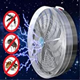 Moonuy Nouveau style Solaire Alimenté Buzz Lampe UV Lumière Energie solaire Fly Insecte Bug Mosquito Tuer Pratique Killer Solar Bug Kill Anti Mosquito Fournitures de Jardin (Gris)