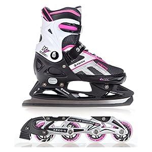 RAVEN 2in1 Schlittschuhe Inline Skates Inliner Pulse Black/Pink verstellbar