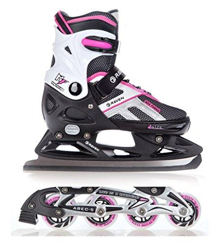 2in1 Schlittschuhe Inline Skates Inliner Raven Pulse Black/Pink verstellbar Größe: 37-40