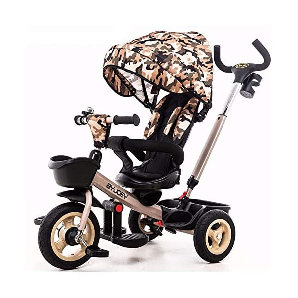 GSDZSY - Luxury 4 IN 1 Children Tricycle, Comfortable Adjustable Seat For The Baby To Sit Or Lie Flat, Removable Push Handle Bar,With Safety Fence,1-6 Years Old GSDZSY ❀ Material: High carbon steel + ABS + rubber wheel, suitable for children from 6 months to 6 years old, maximum load 30 kg ❀ Features: The push rod can adjust the height and control direction, the seat can rotate 360; the baby can lie flat, adjustable umbrella, suitable for different weather conditions ❀ Performance: high carbon steel frame, strong and strong bearing capacity; non-inflatable rubber wheel, suitable for all kinds of road conditions, good shock absorption, seat with breathable fabric, baby ride more comfortable 1