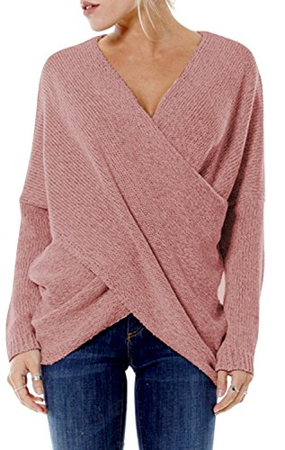 YOINS Damen Pullover Herbst Winter V-Ausschnitt Langarmshirt Batwing Strick Sweater Loose Strick Jumper Shirt Top Cross Front Rosa EU40-42