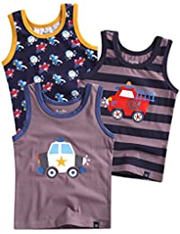 Vaenait baby 86-122 Jungen Kinder Roboter Rakete Motiv Unterhemden u. Unterhosen 3-Packung Top Mehrfachpackung Set